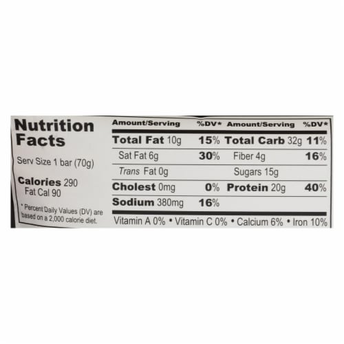 Probar Peanut Butter Chocolate Core Bar - Case of 12 - 2.46 oz Perspective: back