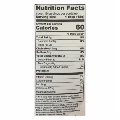 Navitas Naturals Chia Seeds - Organic - Raw - 8 oz - case of 12 Perspective: back