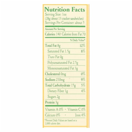 Late July Snacks Sandwich Crackers - Peanut Butter - Case of 12 - 5 oz. Perspective: back