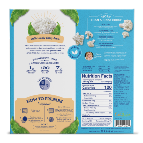 Cali'flour Foods Plant-Based Plain Pizza Crust Perspective: back