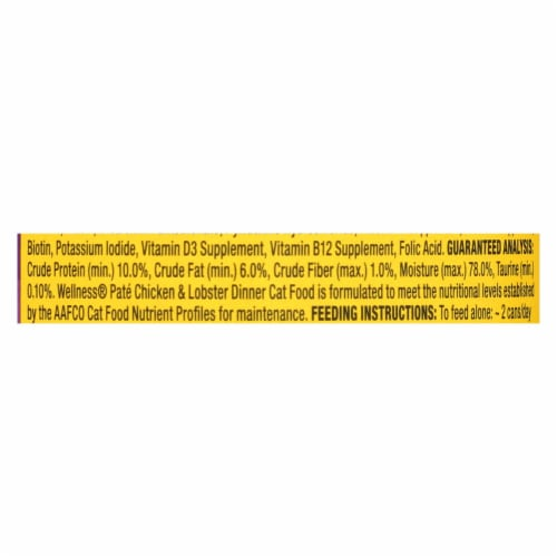 Wellness Pet Products Cat Food - Chicken and Lobster - Case of 24 - 3 oz. Perspective: back