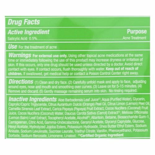 Alba Botanica - Fast Fix Sheet Masks - Papaya Anti- Acne - Case of 8 - 1 count Perspective: back