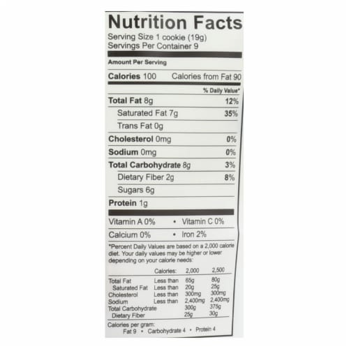 Emmy's Organics  Chocolate Chip - Case of 8 - 6 oz. Perspective: back