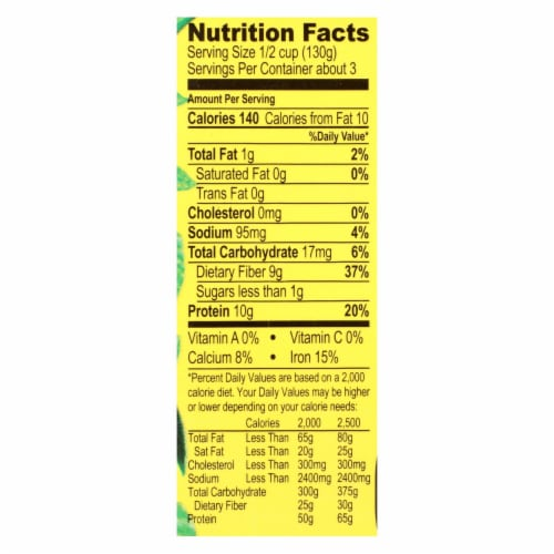 Jack's Quality Organic Black Beans - Low Sodium - Case of 8 - 13.4 oz Perspective: back