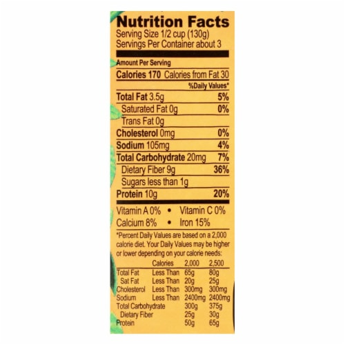 Jack's Quality Organic Garbanzo Beans - Low Sodium - Case of 8 - 13.4 oz Perspective: back