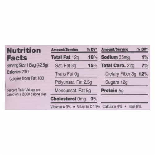 Sahale Raspberry Crumble Cashew Snack Mix  - Case of 9 - 1.5 OZ Perspective: back