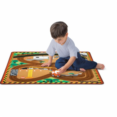 Melissa & Doug® Round the Construction Zone Work Site Rug and Vehicle Set Perspective: bottom