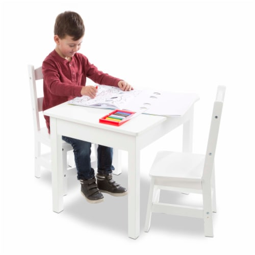 Melissa & Doug® Wooden Table & Chairs - White Perspective: bottom