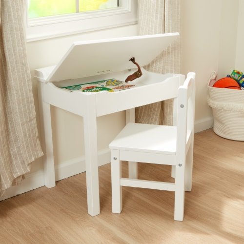 Melissa & Doug® Wooden Lift-Top Desk & Chair - White Perspective: bottom