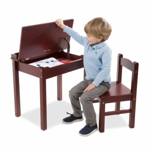 Melissa & Doug® Wooden Lift-Top Desk & Chair - Espresso Perspective: bottom
