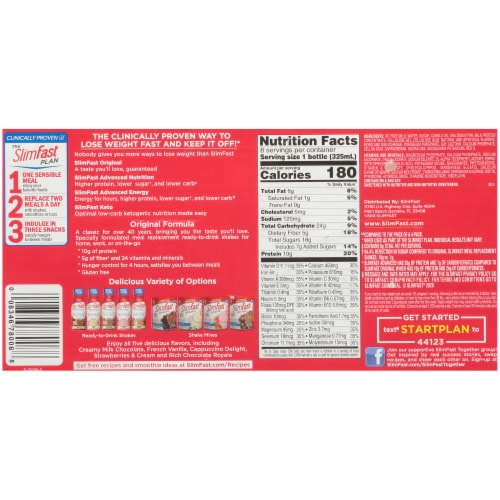 SlimFast Original Strawberries & Cream Ready To Drink Meal Replacement Shakes Perspective: bottom