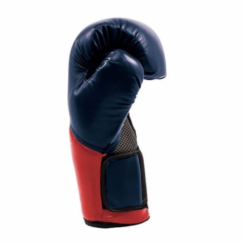 Everlast Pro Style Elite Workout Training Boxing Gloves Size 16 Ounces, Navy/Red Perspective: bottom