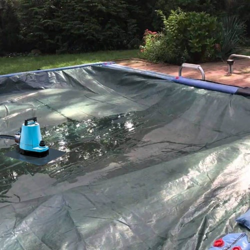 SwimWays Spring Float Recliner Pool Lounge Chair w/ Sun Canopy, Blue | 13022 Perspective: bottom