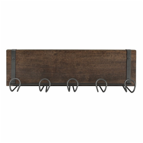 Spectrum Vintage 5-Hook Wall Mount Shelf - Wood Perspective: bottom