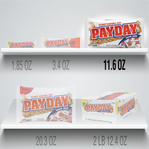 Payday Snack Size Peanut Caramel Candy Bars Perspective: bottom