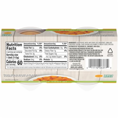 Kroger® Yellow Cling Diced Peach Cups Perspective: bottom