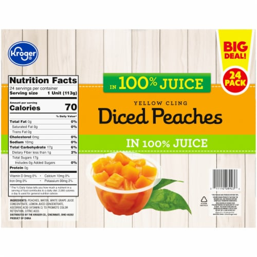 Kroger® Yellow Cling Diced Peaches Fruit Cups Family Pack Perspective: bottom