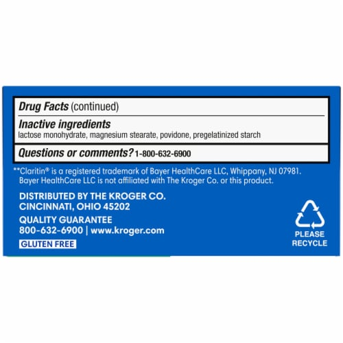 Kroger® Non-Drowsy Allergy Relief Loratadine Tablets Perspective: bottom