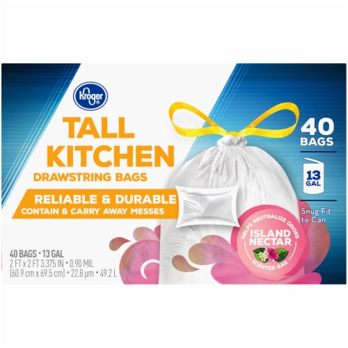 Kroger® Island Nectar Scented 13 Gallon Tall Kitchen Drawstring Trash Bags Perspective: bottom