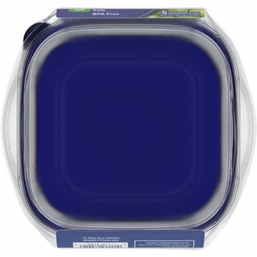 Kroger® Small Square Storage Containers - 5 Pack - Clear/Blue Perspective: bottom