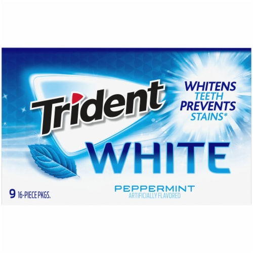 Trident White Peppermint Sugar Free Gum Perspective: bottom