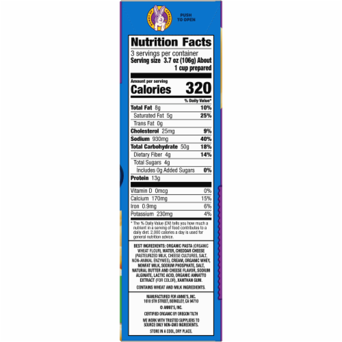 Annie's Deluxe Rich & Creamy Shells and Classic Cheddar with Macaroni and Cheese Sauce Perspective: bottom
