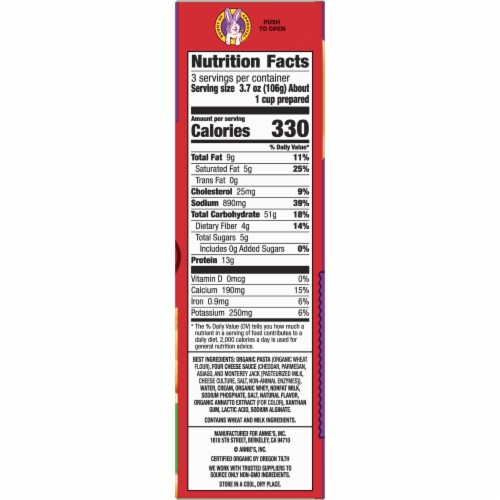 Annie's Deluxe Rich & Creamy Shells & Four Cheese Macaroni & Cheese Sauce Perspective: bottom