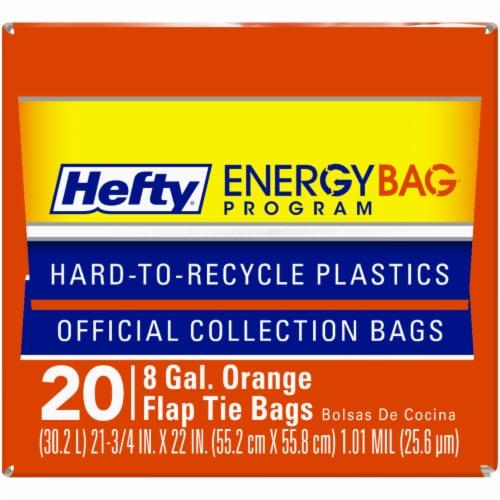 Hefty Energy Bag Program 8 Gallon Orange Flap Tie Bags Perspective: bottom