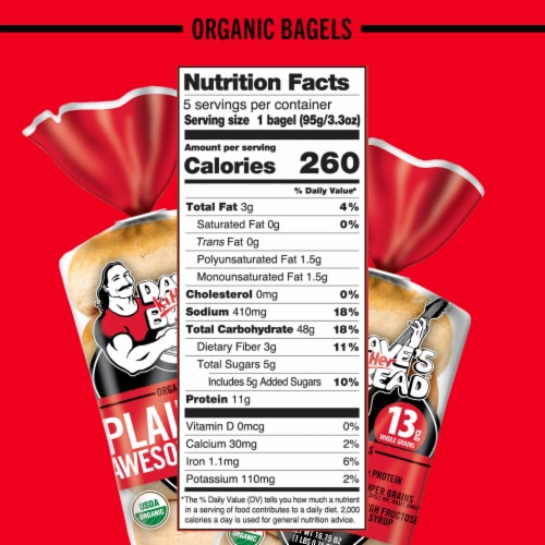 Dave's Killer Bread® Organic Plain Awesome Bagels Perspective: bottom