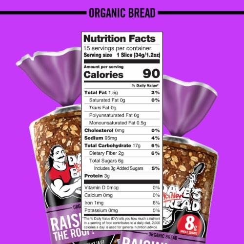 Dave's Killer Bread® Organic Raisin' the Roof! Bread Perspective: bottom