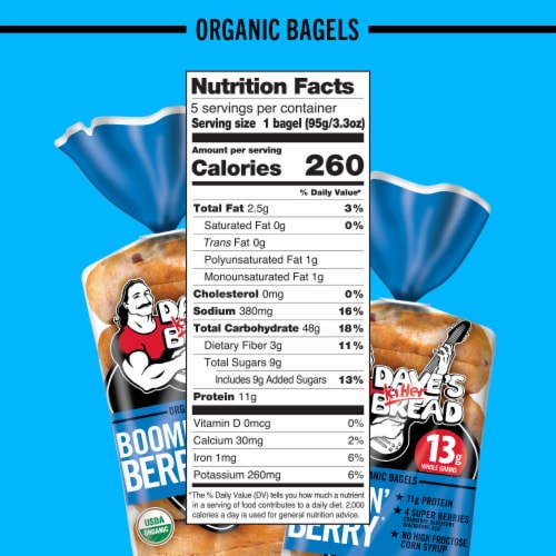 Dave's Killer Bread® Organic Boomin' Berry Bagels Perspective: bottom