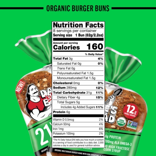 Dave's Killer Bread® 21 Whole Grains and Seeds Organic Burger Buns Perspective: bottom