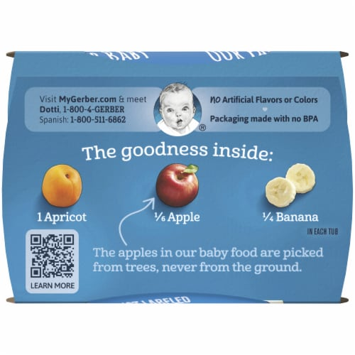 Gerber 2nd Foods Apricot Mixed Fruit Baby Food Perspective: bottom