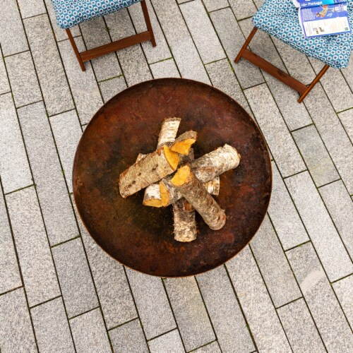 Curonian Jura Fire Pit Large, Diameter 31  - Combinations of Rusting and Stainless Steel Perspective: bottom
