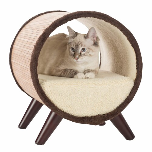 Paws & Purrs Tubular Bamboo Small Pet Bed w/ Removable Plush Fabric, Beige Perspective: bottom