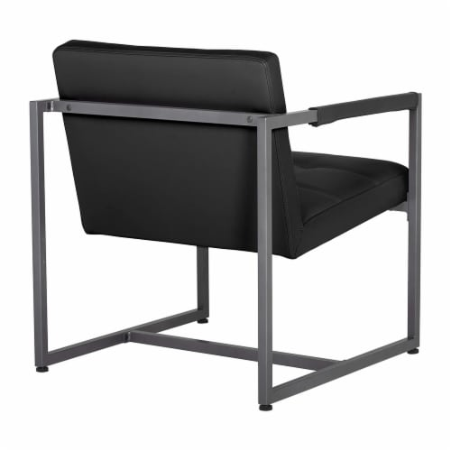 Studio Designs Home Camber Modern Small Accent Chair, Black Leather/Pewter Grey Perspective: bottom