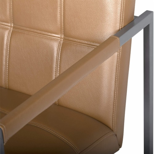 Studio Designs Home Camber Small Metal and Leather Accent Chair in Caramel Perspective: bottom