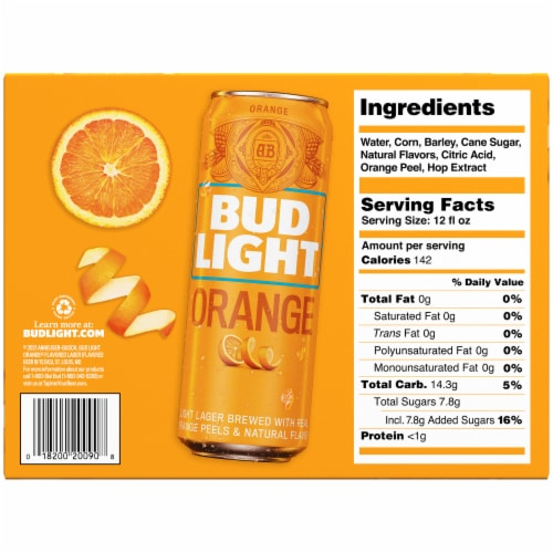 Bud Light Orange Lager Beer Perspective: bottom