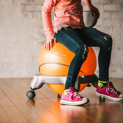 Gaiam Active Kid Classic Stability Balance Ball Chair with Reliable 4 Wheel Base Perspective: bottom