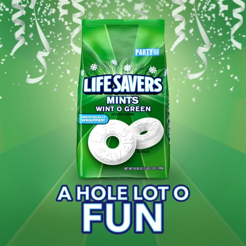 LIFE SAVERS Wint O Green Breath Mints Hard Candy Perspective: bottom