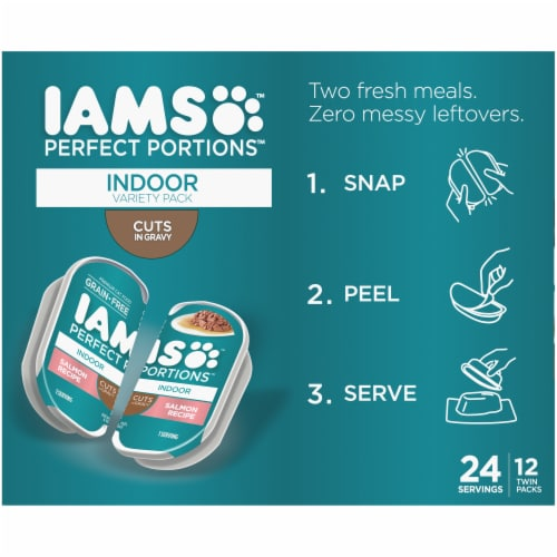 IAMS Perfect Portions Salmon Recipe & Tuna Recipe Indoor Wet Cat Food Variety Pack Perspective: bottom
