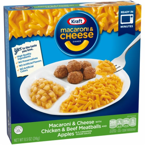 Kraft Macaroni & Cheese with Chicken & Beef Meatballs and Apples Perspective: bottom
