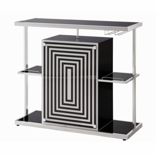 Coaster Contemporary Bar Unit in Glossy Black Perspective: bottom