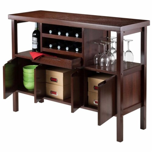 Winsome Diego Wine Rack Buffet Table in Walnut Perspective: bottom