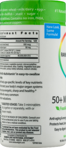 Rainbow Light 50+ Multivitamin Gluten Free Mini Tablets Perspective: bottom