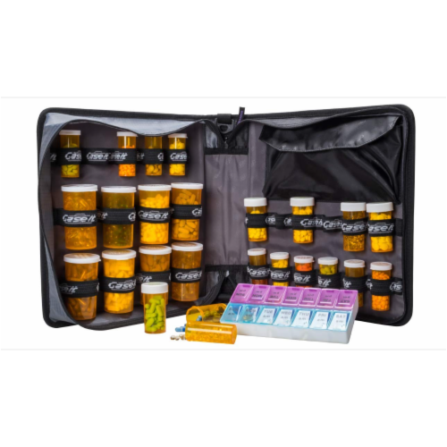Med Manager XL Medicine Organizer and Pill Case, Holds (25) Pill Bottles, Red Perspective: bottom
