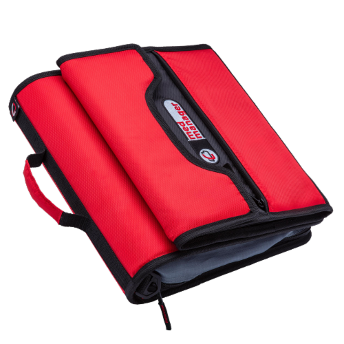 Med Manager Deluxe Medicine Organizer and Pill Case, Holds (15) Pill bottles, Red Perspective: bottom