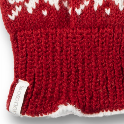 Isotoner­® Women's Snowflake Knit Gloves - Red Perspective: bottom