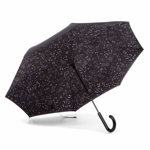 Totes InBrella Reverse Close Umbrella - Black Perspective: bottom