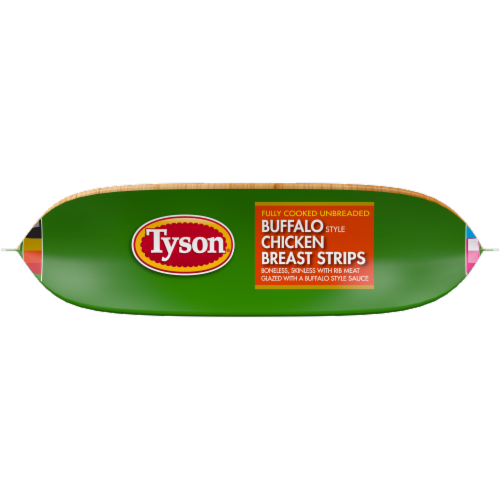 Tyson Fully Cooked Unbreaded Buffalo Style Chicken Breast Strips Perspective: bottom